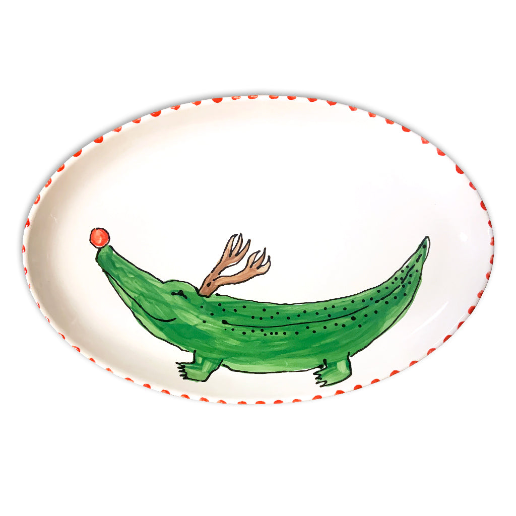 Reindeer Alligator Oval Platter