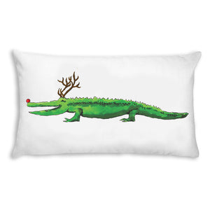 Alligator Reindeer Lumbar Pillow