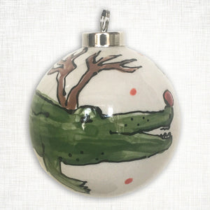 Alligator Reindeer Ball Ornament