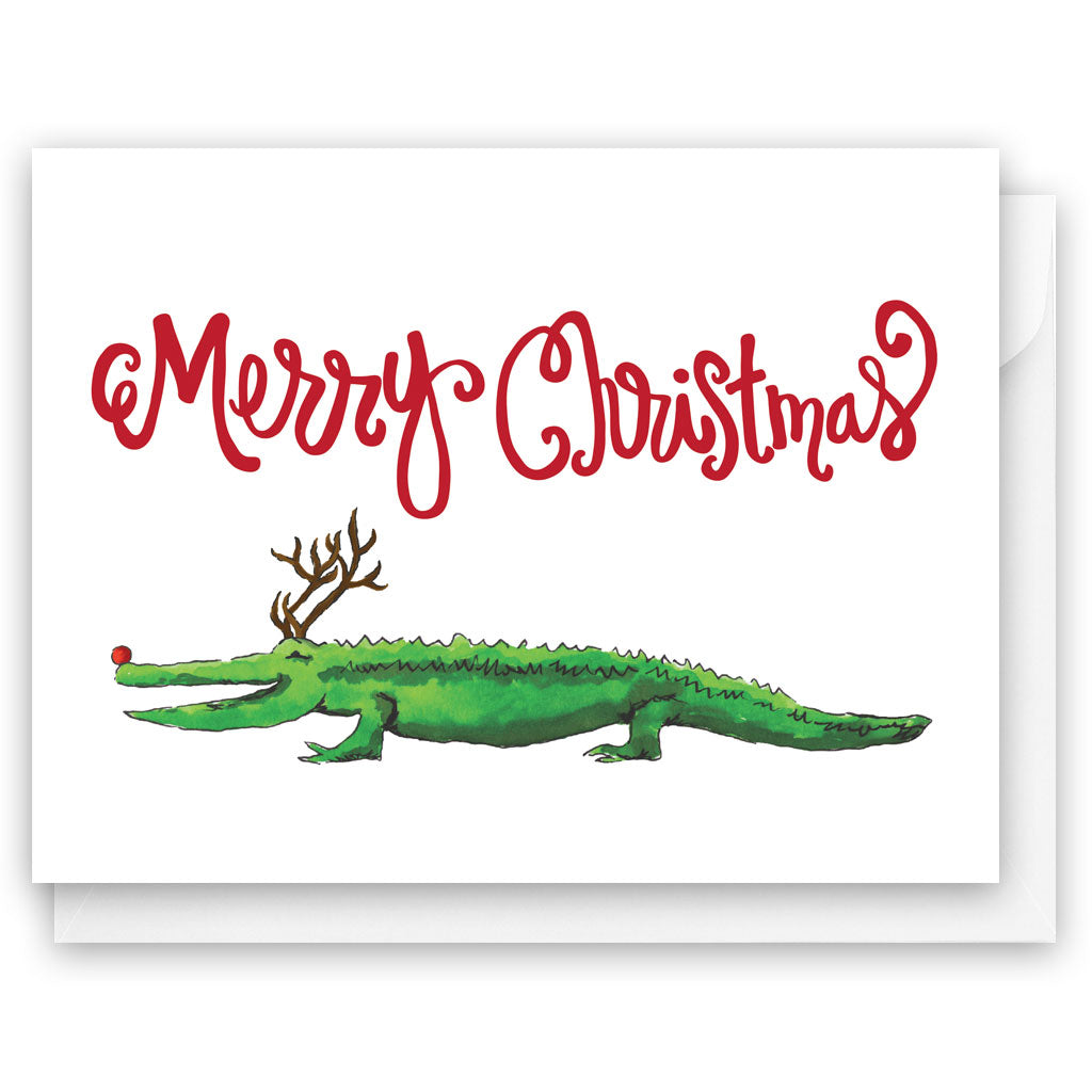 Alligator Reindeer Card