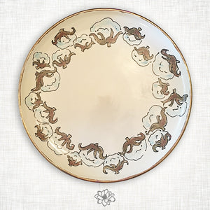 Cotton Round Platter with Gold Trim