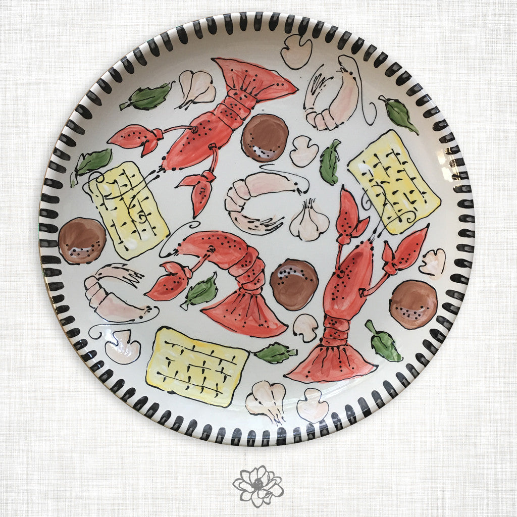 Crawfish Ceramic Round Platter
