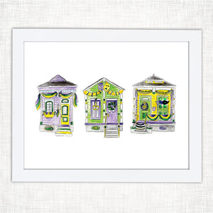 Shotgun Houses Mardi Gras Art Print