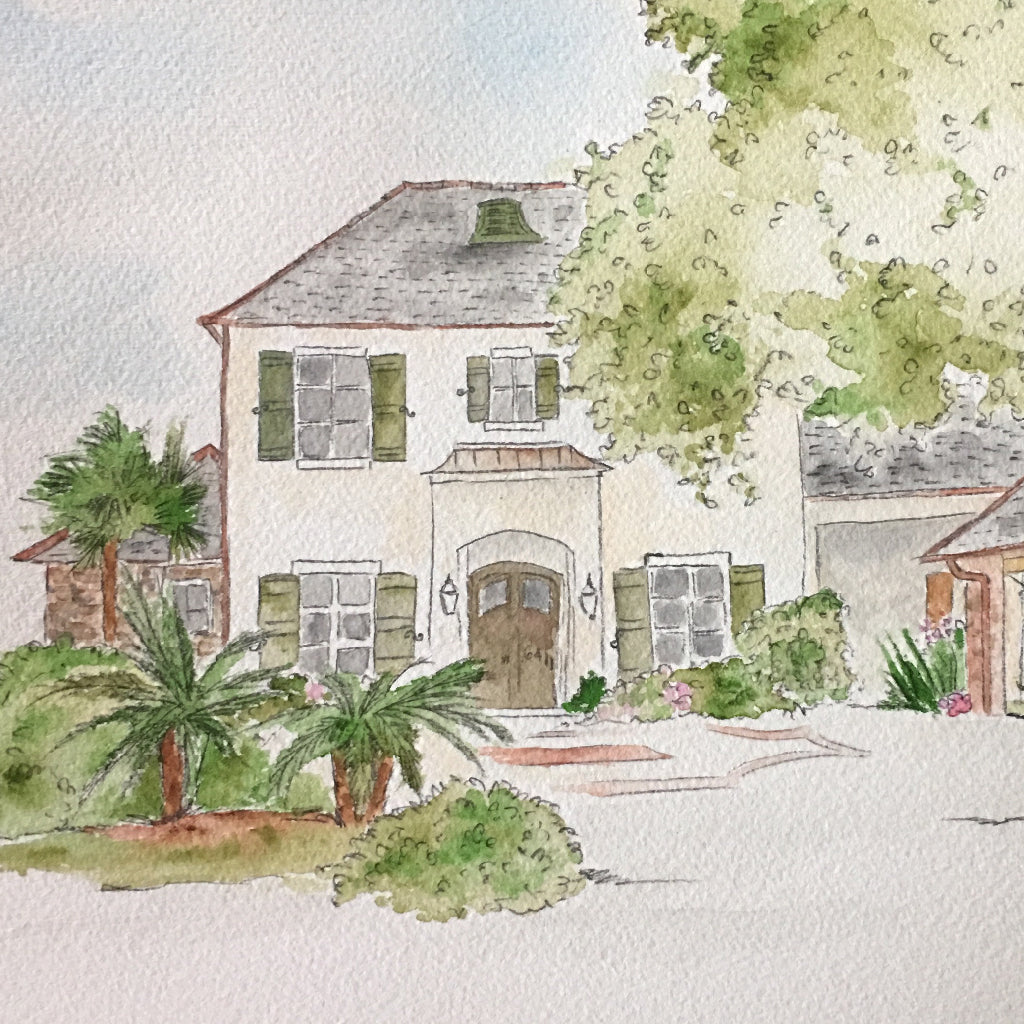 Custom Watercolor Home Portrait