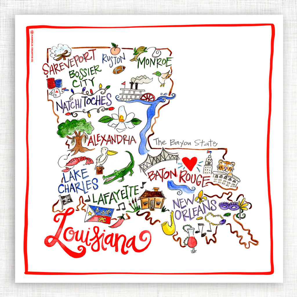 Louisiana Map Kitchen Towel