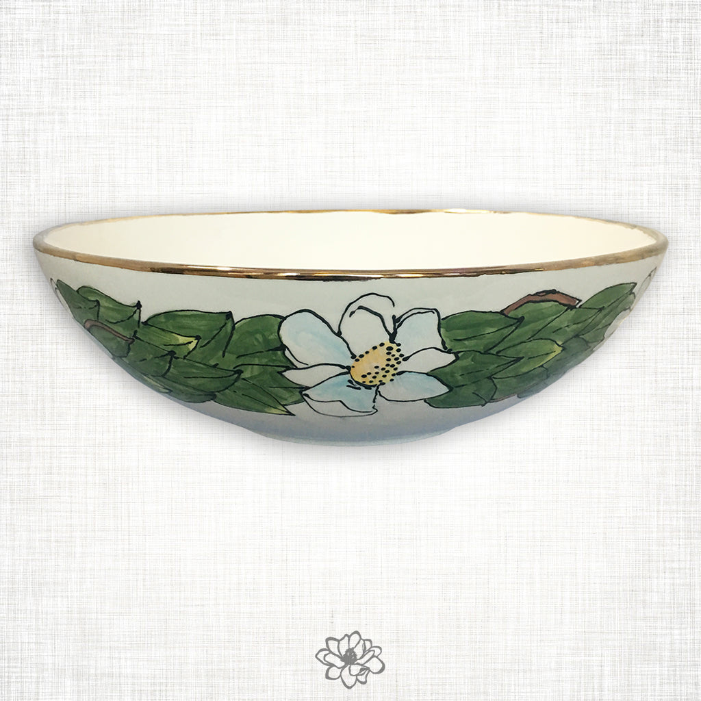 Magnolia Serving Bowl with Gold Trim