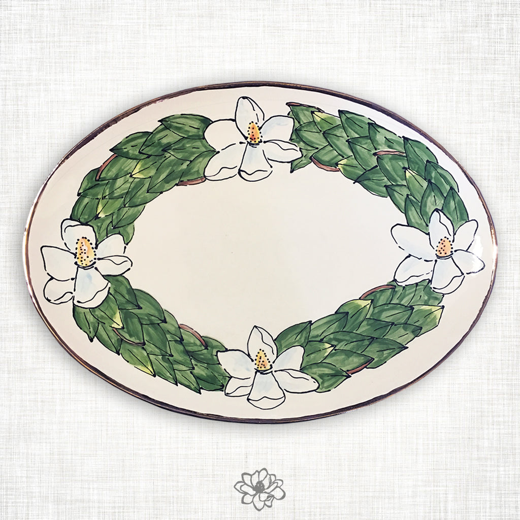 Magnolia Oval Platter with Gold Trim