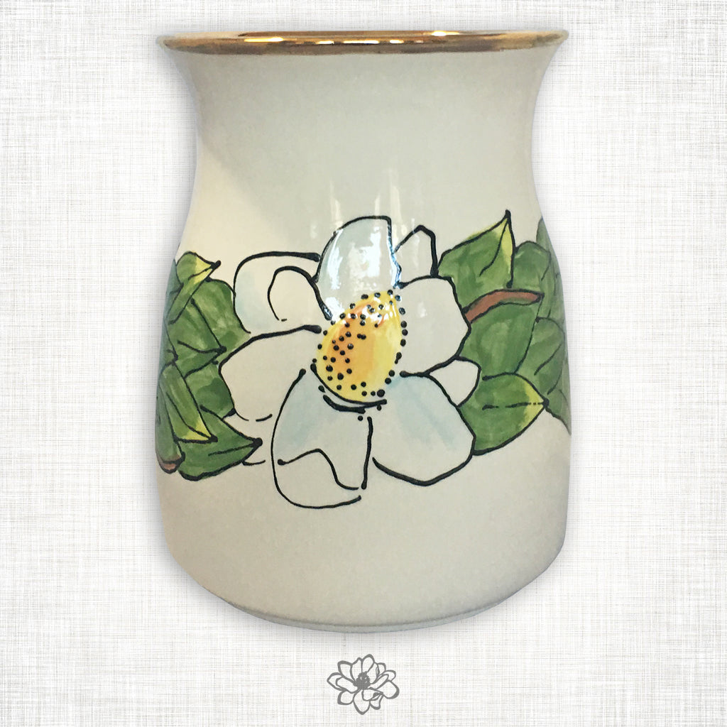 Magnolia Utensil Holder with Gold Trim