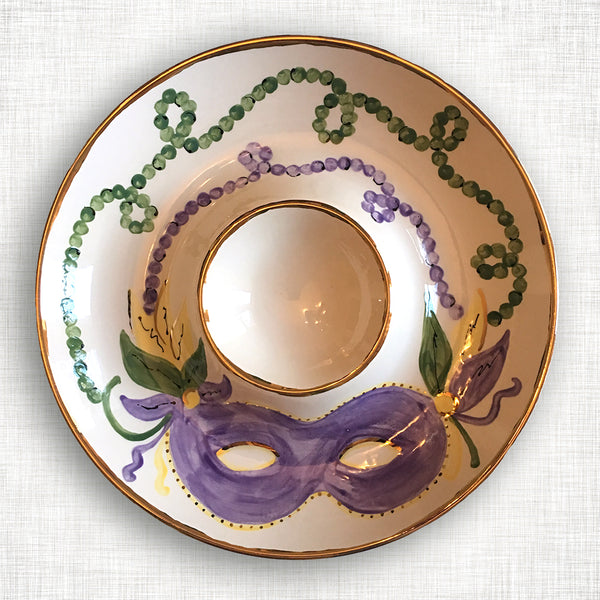 Mardi Gras Chip and Dip with Gold Trim