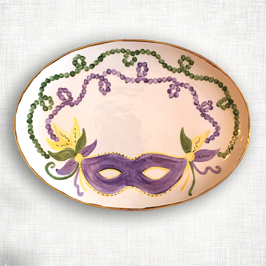 Mardi Gras Oval Platter with Gold Trim