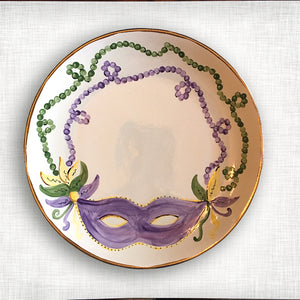 Mardi Gras Round Platter with Gold Trim