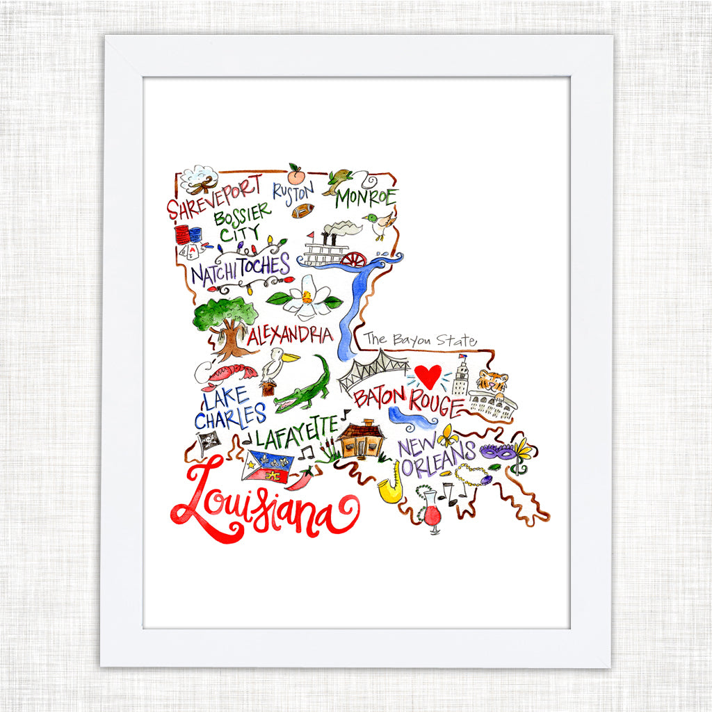picture about Printable Map of Louisiana named Louisiana Map Artwork Print