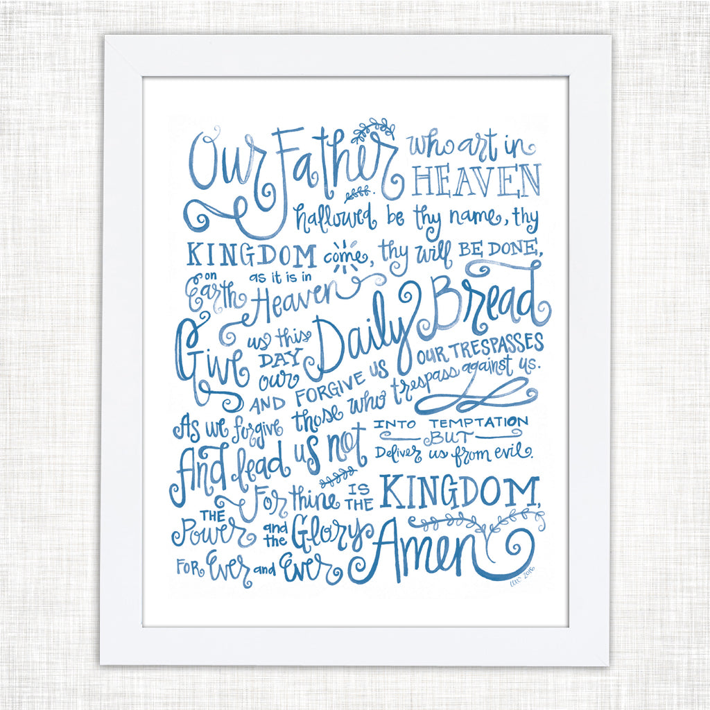 Our Father Prayer Watercolor Print