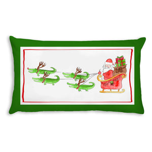 Santa and Reindeer Lumbar Pillow