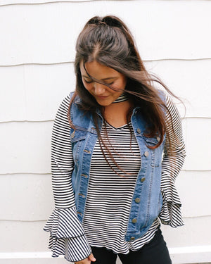 Distressed oversized denim vest