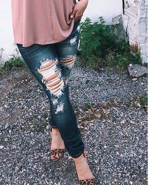 in distress denim skinnies