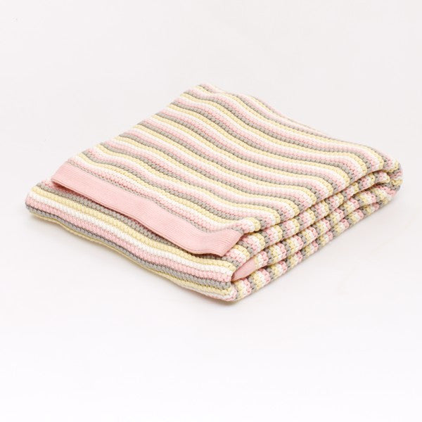 Stripe Knitted blanket: Pink