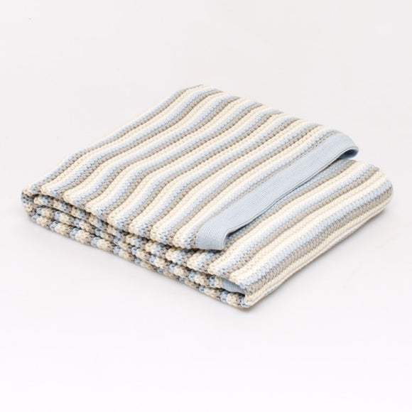 Stripe Knitted blanket: Blue