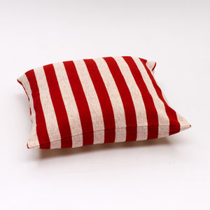 Solid Stripe Cushions - Red and Off White