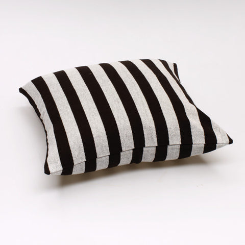 Solid Stripe Cushions - Black and Off White