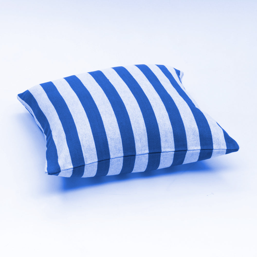 Blue and white thick stripe cotton cushion cover. Made from thick guage cotton. Made in India