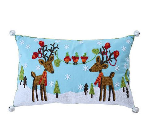 Oh Deer Christmas Cushion - Blue