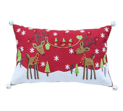 Oh Deer Christmas Cushion - Red