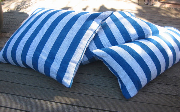 Solid Stripe Long Cushions - Blue and White