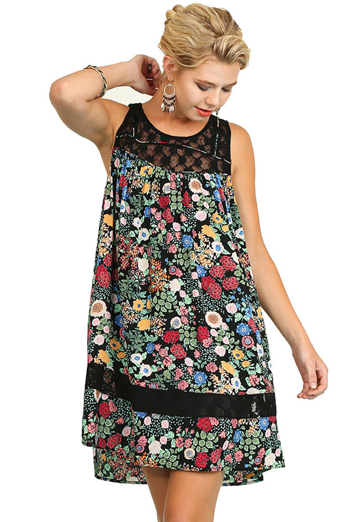 Umgee Women's Sleeveless Floral Print Dress with Lace Details