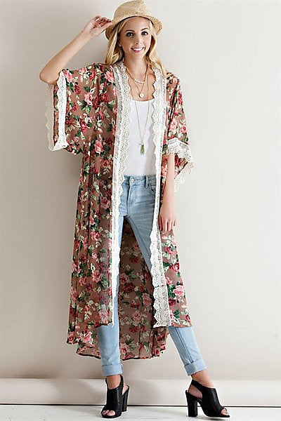 Floral Crinkle Cardigan by Entro - dirty south provisions