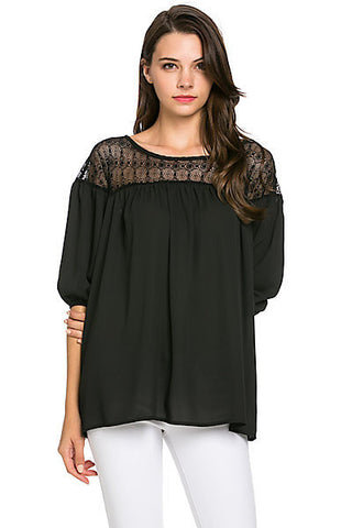 Flying Tomato Lace Accented Blouse
