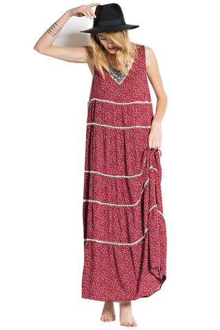 Easel Women's Floral Maxi Dress Red