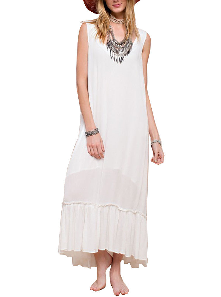Easel Women's Maxi Dress White - dirty south provisions