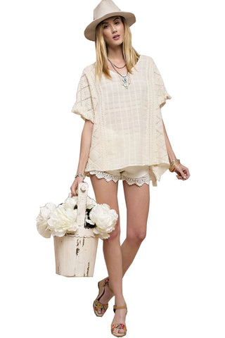 Easel Women's Poncho with Contrast Lace and Fringe