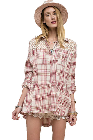 Easel Women's Gauzy Plaid Buttondown Shirt Red