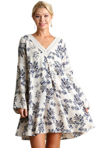 Umgee Women's Floral Print Peasant Dress with Lace Detail on Neck Line