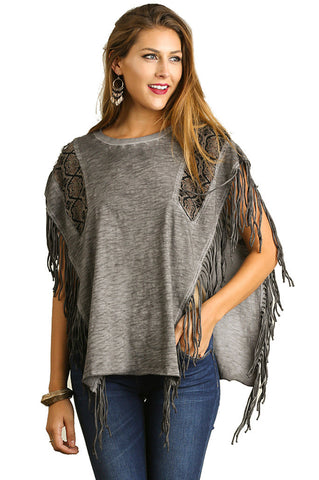 Umgee Women's Garment Washed Poncho Style Tunic with Fringe Details Grey