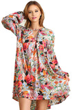 Womens Floral Blouse - 1