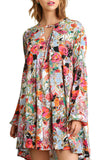 Umgee Women's Floral Print Dress with Keyhole Neckline