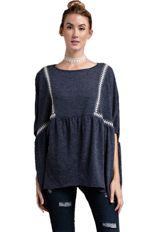 Easel Women's Oversized Poncho Blue