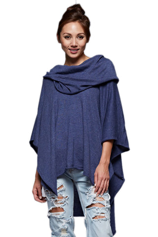 Lovestitch Womens Draped Neckline Knit Poncho Indigo
