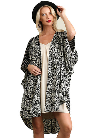 Umgee Women's Open Floral Print Kimono with High Low Hem