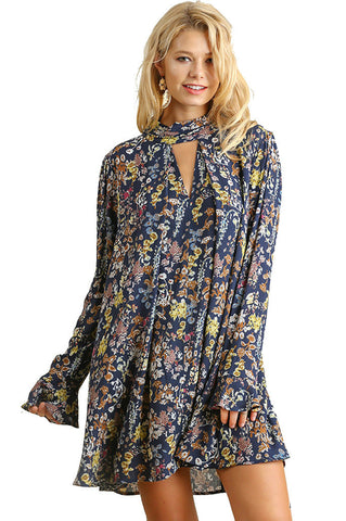 Umgee Women'sFloral Print Bell Sleeved Dress with Double Keyhole Neckline