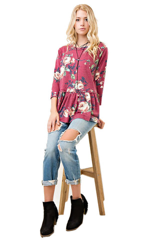 Entro Women's Floral Print Peplum Top with Raw Hem