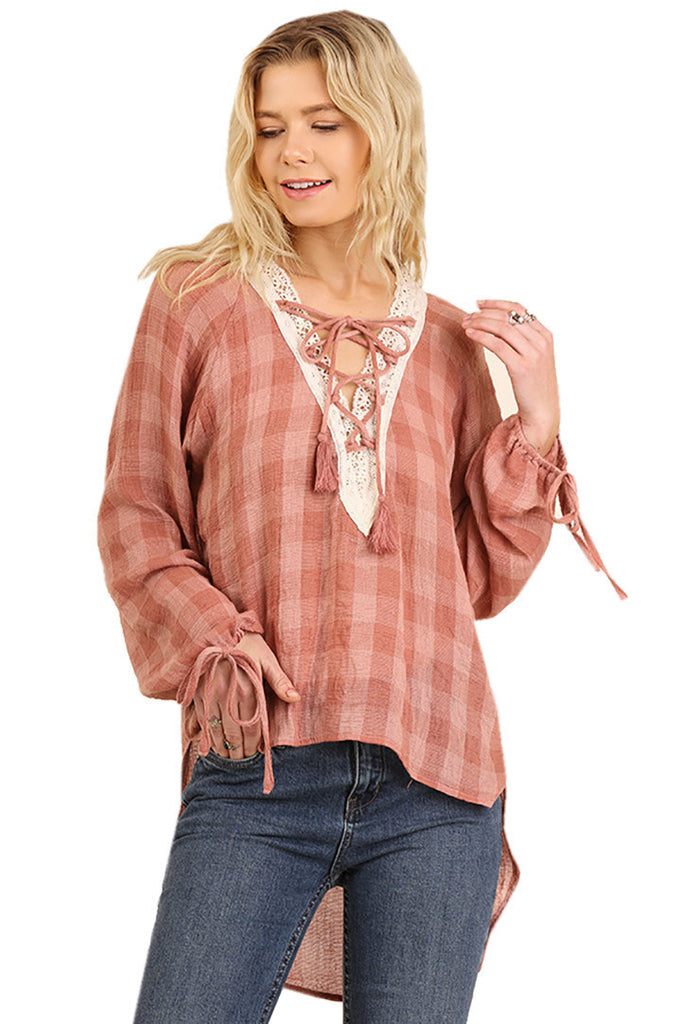 Umgee Womens Criss Cross Front Tie Top with Bubble Sleeve