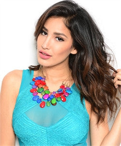 Multi-Color Statement Necklace and Earring Set