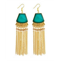 Turquois and Gold Dangle Earrings