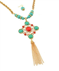 Gold Turquoise and Red Tassel Necklace
