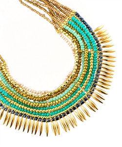 Gold and Turquoise Statement Necklace