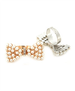 Bow Adjustable Ring with Pearl Accents